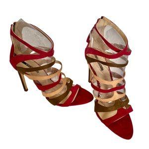 ZARA Cranberry & Green Suede Strappy Sandals